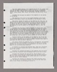 Amherst College faculty meeting minutes and Committe of Six meeting minutes 1959/1960