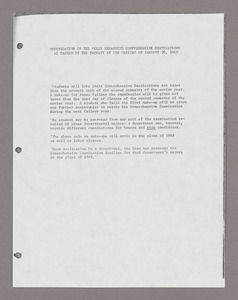 Amherst College faculty meeting minutes and Committe of Six meeting minutes 1968/1969