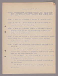 Amherst College faculty meeting minutes 1896/1897