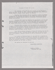 Amherst College faculty meeting minutes and Committe of Six meeting minutes 1946/1947