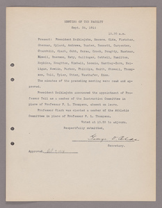 Amherst College faculty meeting minutes 1914/1915