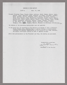 Amherst College faculty meeting minutes 1929/1930