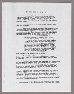 Amherst College faculty meeting minutes and Committe of Six meeting minutes 1938/1939