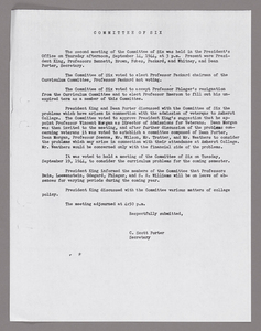 Amherst College faculty meeting minutes and Committe of Six meeting minutes 1944/1945