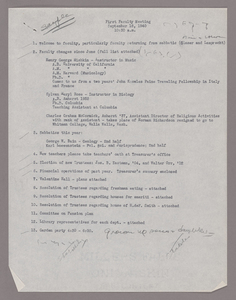 Amherst College faculty meeting minutes and Committe of Six meeting minutes 1940/1941