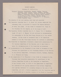Amherst College faculty meeting minutes 1917/1918