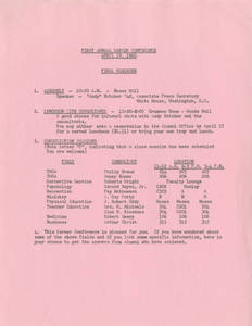Career Day 1962 Schedule of Events