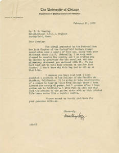 Letter from Amos Alonzo Stagg to Frank Seerley, 1933