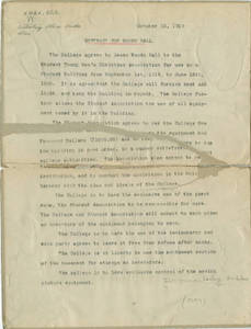 Woods Hall Contract, 1919