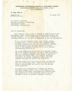 Letter to Karpovich from Kennedy (August 26, 1957)
