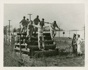 World War II training over logs (1943)