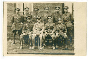Postcard of World War I soldiers in front of building