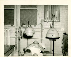 Soldier receiving treatment at the US Naval Special Hospital at Springfield College
