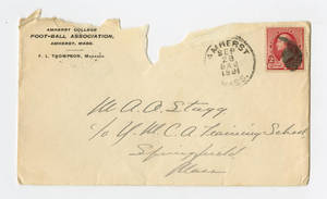 Envelope from a letter to Amos Alonzo Stagg from Amherst College sent September 27, 1891