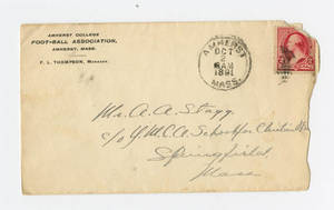 Envelope from a letter to Amos Alonzo Stagg from Amherst College sent October 1, 1891
