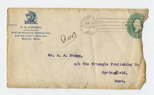 Envelope for a letter to Amos Alonzo Stagg from the Boston Athletic Association, September 18, 1891