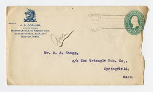 Envelope for a letter to Amos Alonzo Stagg from the Boston Athletic Association, September 24, 1891