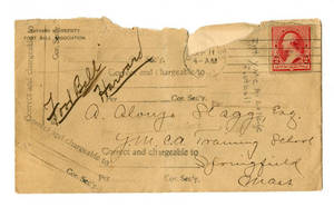 Envelope for letter to Amos Alonzo Stagg from Harvard University Foot Ball Association dated September 10, 1891