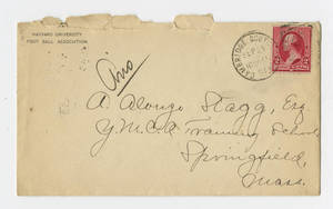 Envelope for letter to Amos Alonzo Stagg from Harvard University Foot Ball Association dated September 24, 1891