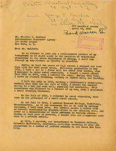 Letter to Charles Mulford from Frank A. Warren, April 25, 1942