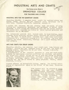 Industrial Arts and Crafts Course Flyer, c. 1938