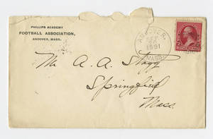 Envelope for a letter to Amos Alonzo Stagg from Phillips Andover Academy Football Association dated September 20, 1891
