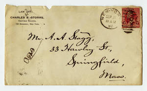 Envelope for a letter to Amos Alonzo Stagg from Charles B. Storrs dated September 20, 1891