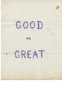 """""""Good or Great"""" Springfield College playbook, 1965"""