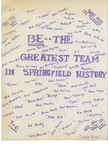 """Be the Greatest Team in Springfield History,"" Springfield College playbook, 1965"