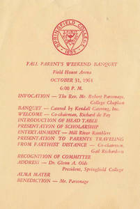 1964 Parent's Weekend Banquet Program