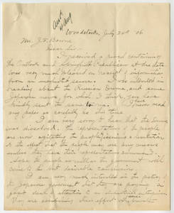 Letter from Hyozo Omori to Jacob T. Bowne, July 24, 1906