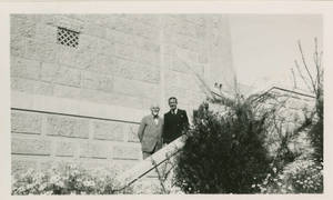 Dr. Doggett and Dr. Kidess on the gym steps at the YMCA in Jerusalem
