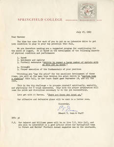 Coach Dunn letter about the preseason conditioning program, July 27, 1965