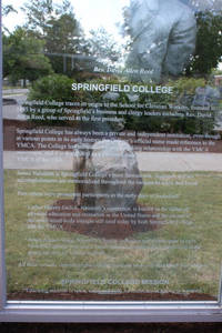 The Springfield College panel in the Monument to the First Game of Basketball on Mason Square