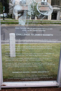 The Challenge to Naismith panel in the Monument to the First Game of Basketball on Mason Square, 2011
