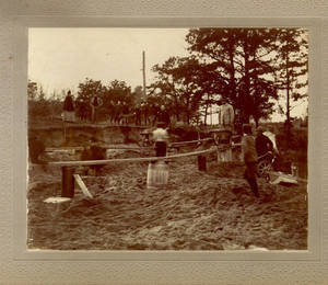 Working on the grounds outside at the Springfield College, ca. 1898