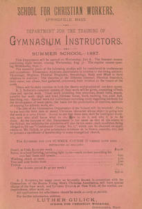 Department for the Training of Gymnasium Instructors Flyer, 1887