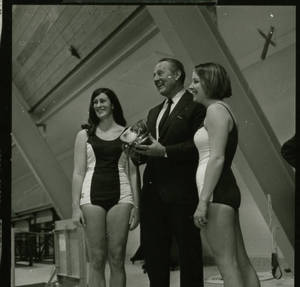 Art Linkletter and two representatives of the Swimming Team (1969)