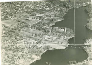 Aerial view of Springfield College, 1947