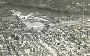 Aerial view of Springfield College and surrounding community, 1947