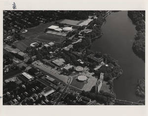 Aerial photograph of Springfield College, 1985