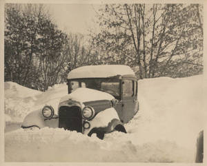 A car stuck in the snow at Springfield College, ca. 1930