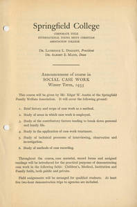 Announcement of course in Social Case Work (1935)