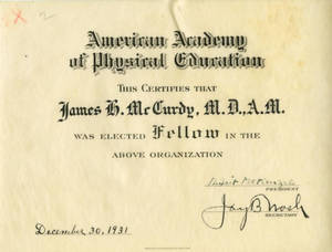 James Huff McCurdy, Fellow in Physical Education certificate (1931)