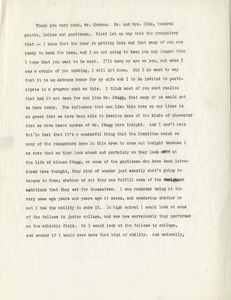 Typed trasncript of Jackie Robinson Speech at Amos Alonzo Stagg 100th Birthday Celebrations, August 12, 1962