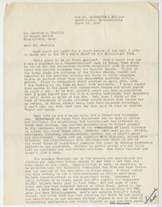 A letter to the Springfield Ma Y's Men's Club from Fred Hoshiyama (March 19, 1943)