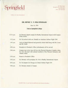 Dr. Henry Fok itinerary for June 16, 1994 visit to Springfield College
