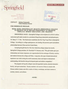 News Release announcing establishment of Fok Fund, August 30, 1994