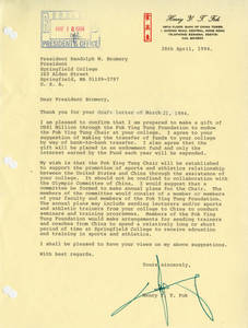 Letter from Dr. Henry Y. T. Fok to SC president Randolph W. Bromery, April 28, 1994