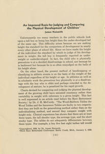 """An Improved Basis for Judging and Comparing the Physical Development of Children,"" by James Naismith"